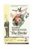 THE BIRDS  from left  Alfred Hitchcock  Jessica Tandy (illustration)  Tippi Hedren  1963