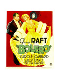 BOLERO  from left: George Raft  Carole Lombard on window card  1934