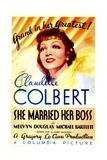 SHE MARRIED HER BOSS  Claudette Colbert on midget window card  1935