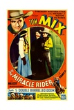 THE MIRACLE RIDER  top right and center right: Tom Mix in 'Chapter 5: Double Barrelled Doom'  1935