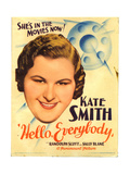 HELLO  EVERYBODY!  Kate Smith on midget window card  1933