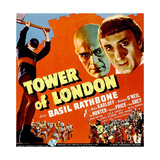 TOWER OF LONDON  top right from left: Boris Karloff  Basil Rathbone on window card  1939