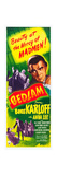BEDLAM  top right: Boris Karloff on insert poster  1946