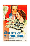 THE BARRETTS OF WIMPOLE STREET  Charles Laughton  Fredric March  Norma Shearer  1934 Poster art