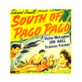 SOUTH OF PAGO PAGO  from left: Victor McLaglen  Frances Farmer on window card  1940