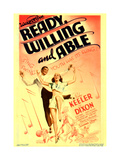 READY  WILLING AND ABLE  from left: Lee Dixon  Ruby Keeler on midget window card  1937