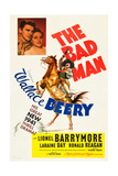 THE BAD MAN  top l-r: Ronald Reagan  Laraine Day  bottom: Wallace Beery on poster art  1941