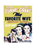 MY FAVORITE WIFE  from left: Cary Grant  Irene Dunne  Gail Patrick on window card  1940