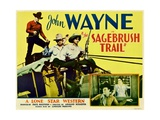 SAGEBRUSH TRAIL  top left: John Wayne  inset from left: John Wayne  Nancy Shubert  1933