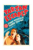 TARZAN ESCAPES  l-r: Johnny Weissmuller  Maureen O'Sullivan on poster art  1936