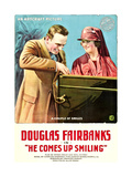 HE COMES UP SMILING  l-r: Douglas Fairbanks  Marjorie Daw on poster art  1918