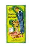 SORRY  WRONG NUMBER  US poster  from left: Barbara Stanwyck  Burt Lancaster  1948