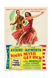YOU'LL NEVER GET RICH  l-r: Fred Astaire  Rita Hayworth on poster art  1941