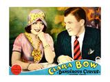DANGEROUS CURVES  from left: Clara Bow  Richard Arlen on lobbycard  1929