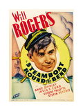 STEAMBOAT ROUND THE BEND  Will Rogers on midget window card  1935
