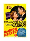 RANDOM HARVEST  from left: Greer Garson  Ronald Colman on midget window card  1942