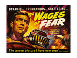 THE WAGES OF FEAR  left: Yves Montand  right from left: Charles Vanel  Vera Clouzot  1955