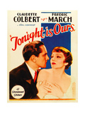 TONIGHT IS OURS  from left: Fredric March  Claudette Colbert on midget window card  1933