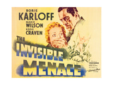 THE INVISIBLE MENACE  l-r: Marie Wilson  Boris Karloff on title card  1938