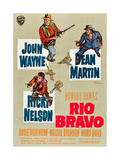RIO BRAVO  clockwise: John Wayne  Dean Martin  Ricky Nelson on German poster art  1959
