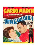 ANNA KARENINA  from left: Greta Garbo  Fredric March  Freddie Bartholomew on window card  1935