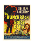 THE HUNCHBACK OF NOTRE DAME  right: Maureen O'Hara on window card  1939
