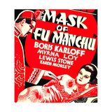 THE MASK OF FU MANCHU  from left on US poster art: Boris Karloff  Myrna Loy  1932