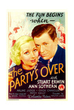 THE PARTY'S OVER  from left: Ann Sothern  Stuart Erwin on midget window card  1934