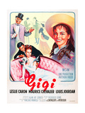 GIGI  l-r: Maurice Chevalier  Louis Jourdan  Leslie Caron on French poster art  1958