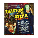 PHANTOM OF THE OPERA  l-r: Nelson Eddy  Susanna Foster  Claude Rains on window card  1943