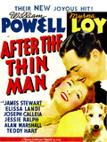 AFTER THE THIN MAN  from left: Myrna Loy  William Powell  Asta (lower right) on window card  1936