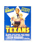 THE TEXANS  from left: Randolph Scott  Joan Bennett on window card  1938