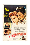 SPELLBOUND  l-r: Ingrid Bergman  Gregory Peck on poster art  1945