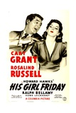 HIS GIRL FRIDAY  (poster art)  Cary Grant  Rosalind Russell  1940