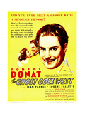 THE GHOST GOES WEST  from left: Jean Parker  Robert Donat on window card  1935