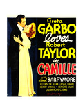 CAMILLE  from left: Robert Taylor  Greta Garbo on window card  1936