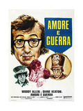 LOVE AND DEATH  (aka AMORE E GUERRA)  French poster  Woody Allen  Diane Keaton (kissing)  1975