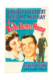 THE BRIDE COMES HOME  l-r: Claudette Colbert  Fred MacMurray on US poster art  1935