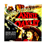ANNIE OAKLEY  top: Moroni Olsen  bottom: Barbara Stanwyck on jumbo window card  1935