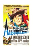 ALBUQUERQUE  US poster  center from left: Randolph Scott  Barbara Britton  1948