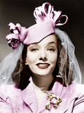 MEXICAN SPITFIRE'S BABY  Lupe Velez  in a felt pillbox hat and a gold brooch 1941