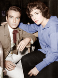 RAINTREE COUNTY  from left: Montgomery Clift  Elizabeth Taylor  between scenes  on set  1957