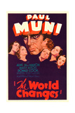 THE WORLD CHANGES  center: Paul Muni on midget window card  1933