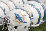 Dolphins Camp Football: Miami Dolphins Helmets