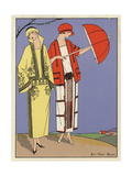Woman in Mustard Velvet Suit  And Woman in White Serge Dress From Art  Gout  Beaute 1923