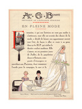 Art  Gout  Beaute Masthead with Bride in Wedding Dress in Crepe De Chine with Silver Lace  1926