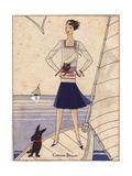 Woman on Yacht in Sailor Suit with Navy Blue Skirt  White Blouse From Art  Gout  Beaute  1930