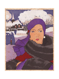 Woman in Scarlet And Purple Winter Coat Trimmed with Black Fur From Art  Gout  Beaute  1930