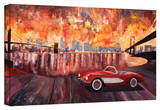'New York City - Two Bridges with a Corvette' Gallery-Wrapped Canvas