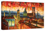 'Munich Skyuline with Alps Panorama' Gallery-Wrapped Canvas